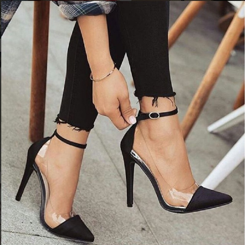 Transparent Stiletto Pumps Wedding-Shoes High-Heels Bridal Black Sexy Woman Pointed-Toe