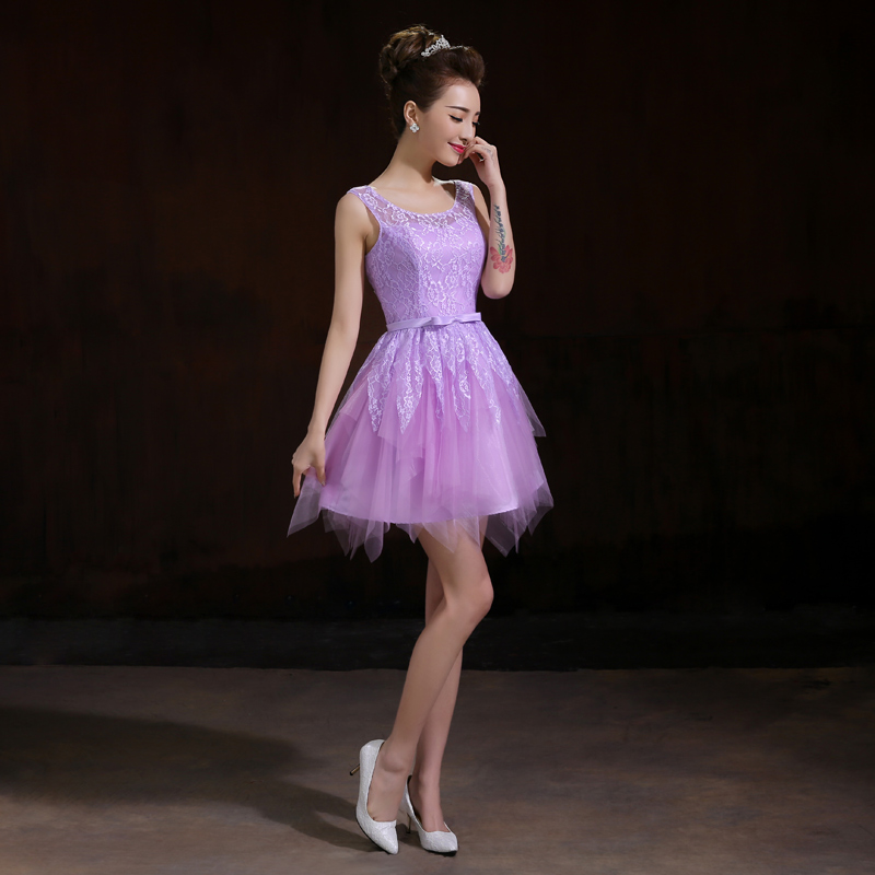 ba1c7bfcb Corto vestido de fiesta ocasión especial Vestidos 2015 nueva lindo elegante púrpura  blanco rojo Encaje up Tank boda banquete Vestidos de dama de honor en ...