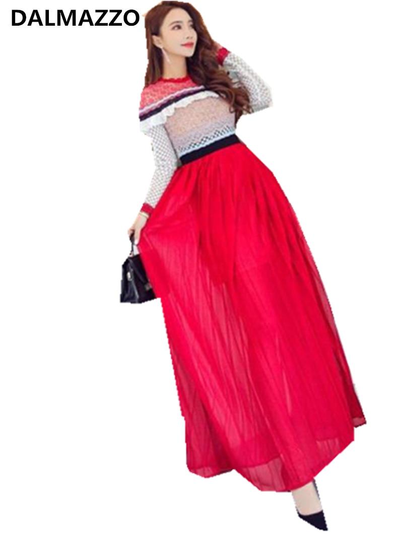 DALMAZZO 2018 Newest High-end Custom Self-Portrait Lace Chiffon Hollow Out Long Dress Fashion Women Long Sleeve Patchwork Dress