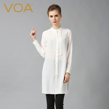VOA long 100% silk white shirt new Summer 2017 fashion loose long sleeved blouse plus size tops female B6088