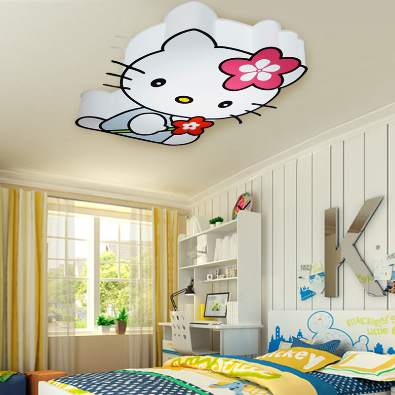 Modern led hello kitty cat ceiling lights fixture children for Lighting for kids room