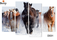 4 Square Home Decor Free Shipping Section Wall Canvas Horses Pattern Digital Image Frameless D031