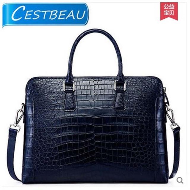2018 Cestbeau New Whole Crocodile Belly Man Bag Navy Leather Men Handbag Single Shoulder