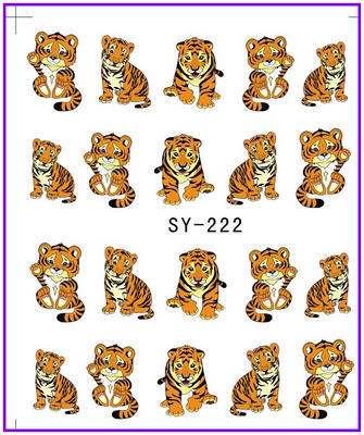 все цены на 1X  Nail Sticker Cartoon Tiger Water Transfers Stickers Nail Decals Stickers Water Decal Opp Sleeve Packing SY222 онлайн