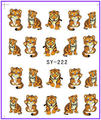 1X  Nail Sticker Cartoon Tiger Water Transfers Stickers Nail Decals Stickers Water Decal Opp Sleeve Packing SY222