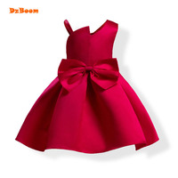 DzBoom Princess Toddler Girl Dress Summer 2017 Christmas Party Red Blue Bow Tutu Dresses Clothes For Children 4 5 6 7 8 Birthday