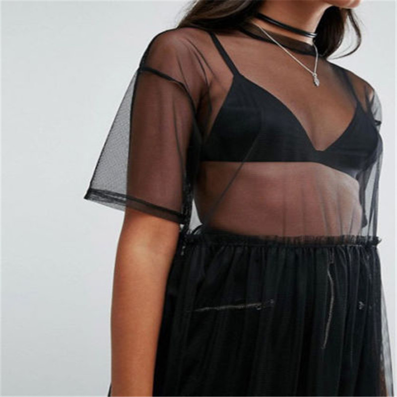 Summer Style Sexy Women See-through Mesh Dress Long Maxi Dresses Solid Short Sleeve Round Neck Tops Clubwear Sundresses Cover