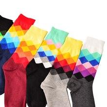 Мужские модные креативные длинные коттоновые носки красочные diamond плед шаблоны Носки Мужской Забавный Носки 3 пар/лот