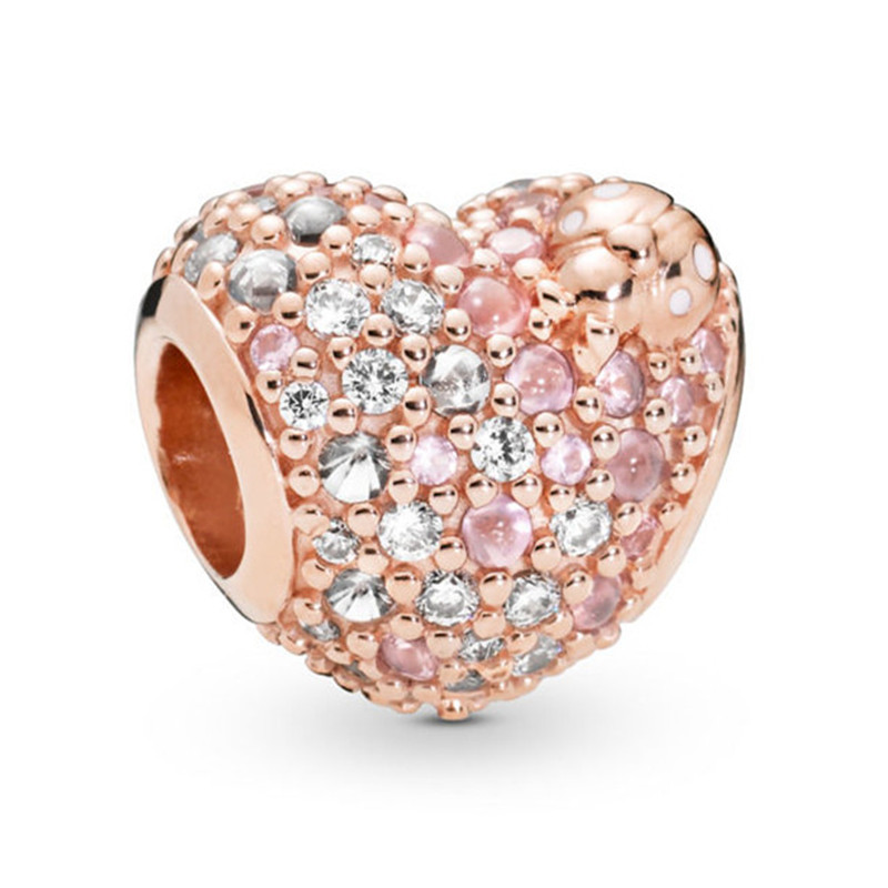 2019 New Spring Collection 925 Sterling Silver Rose Sparkling Heart Charm Fit Original Pandora Bracelet Bangle Women DIY Jewelry in Beads from Jewelry Accessories