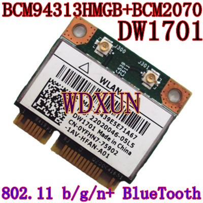 Broadcom BCM94313HMGB BCM2070 BCM4313 DW1701 YFHN7 Half Mini PCI Express BT Bluetooth WLAN Wireless Card