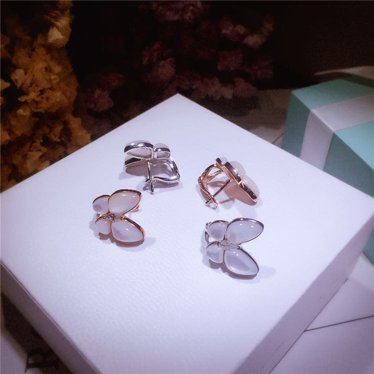 Hot brand designer 925 sterling silver mother of pearl shell butterfly stud earrings for women party jewelry