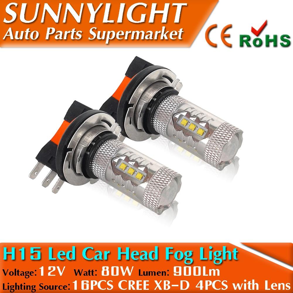 H15 w Cree Chips 16 LEDs Car Daytime Running font b Light b font Lamp Headlight