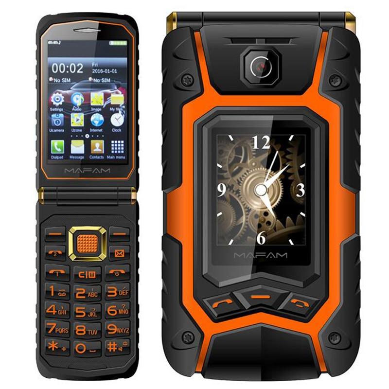 Mafam Clamshell Telefone Móvel Sênior Dual Screen X9 Discagem Rápida Longa Espera Chave Russa Clamshell Display Touch