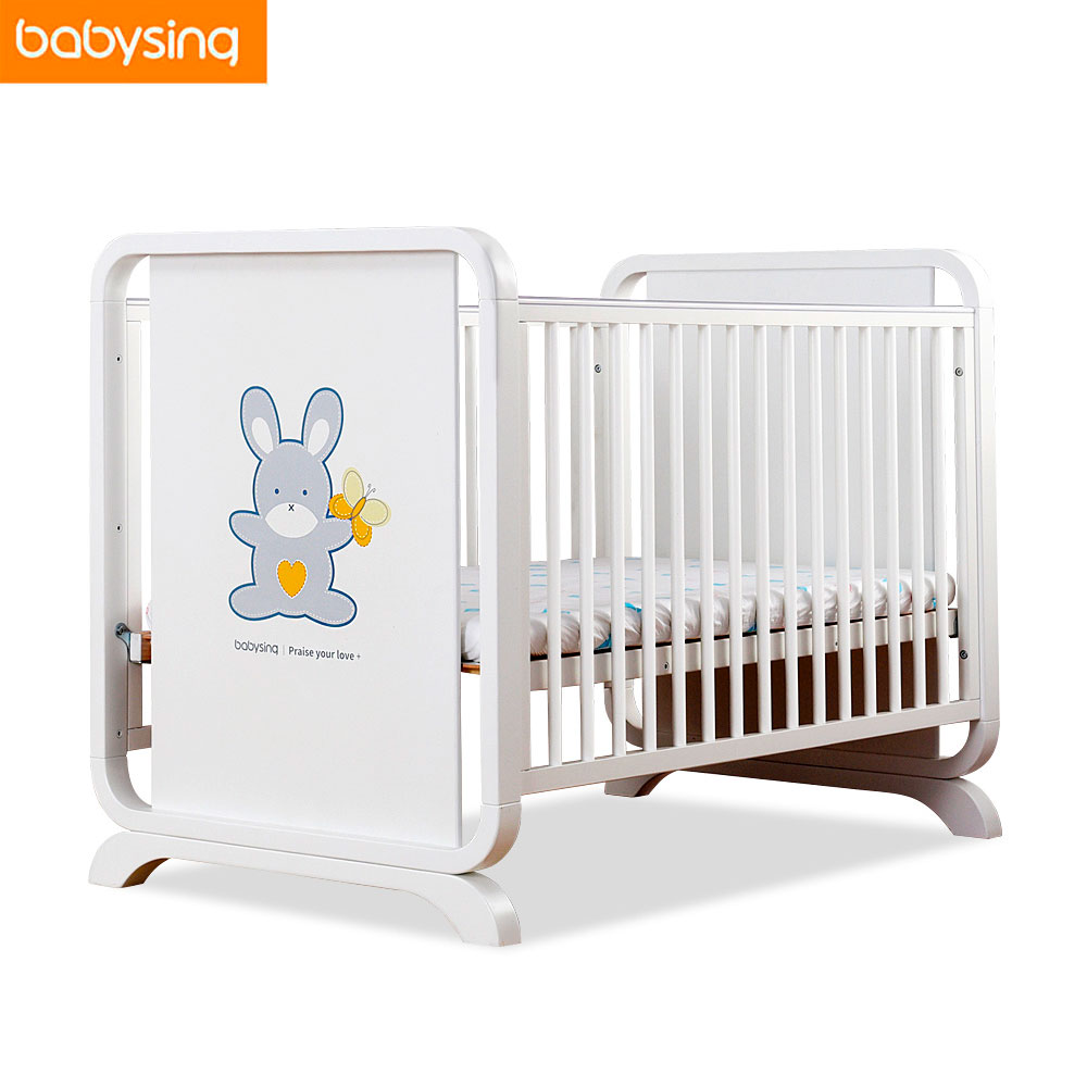 Multifunction Newborn Baby White Solid Wood Crib Imported