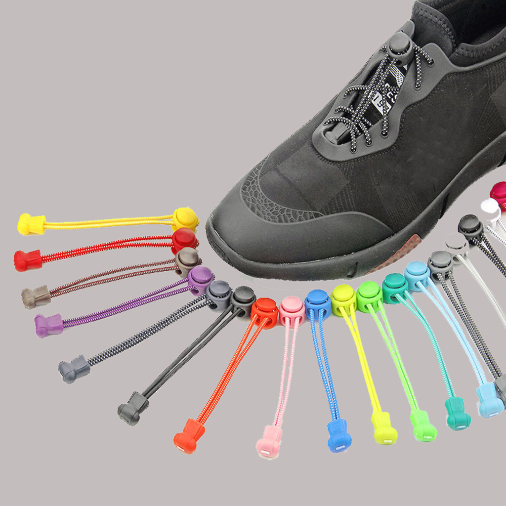 1 Pair Camping Hiking No Tie Locking Shoe Laces Sneaker Lazy Elastic Shoelaces Sport Athletic Sneakers Fit Strap