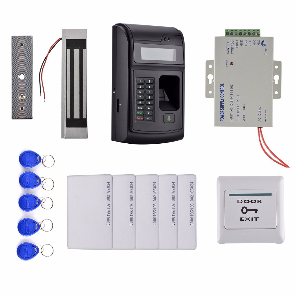 LCD Biometric PIN Code 125KHz RFID ID Card Reader Door Lock Fingerprint Access Control System kit+Magnetic Lock +Power Supply fs28 biometric fingerprint access control machine electric reader scanner sensor code system for door lock