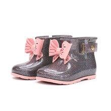 купить Mini Melissa Hollow Bow Rain Boot Original 1:1 Girls Boots 2019 New Girls Jelly Sandals Kids Rain Boots Toddler Shoes Waterproof дешево