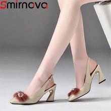 Smirnova negro beige 2018 nuevo zapatos mujer toe hebilla elegante bombas  mujeres zapatos tacones altos zapatos 6d7877b758d3