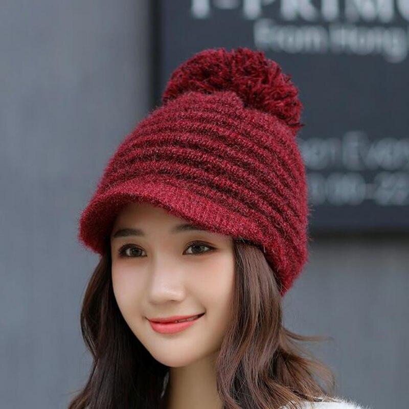 Hats For Women Warm   Beanie   2018 Fashion Autumn Winter Brand New Pom Pom Knitted Hat Female   Skullies     Beanies   Bonnet Ladies