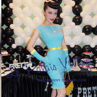 FREE SHIPPING 2015 Summer Style Le Palais Vintage Limited Edition Pin Up Sexy Blue Daisy Solid