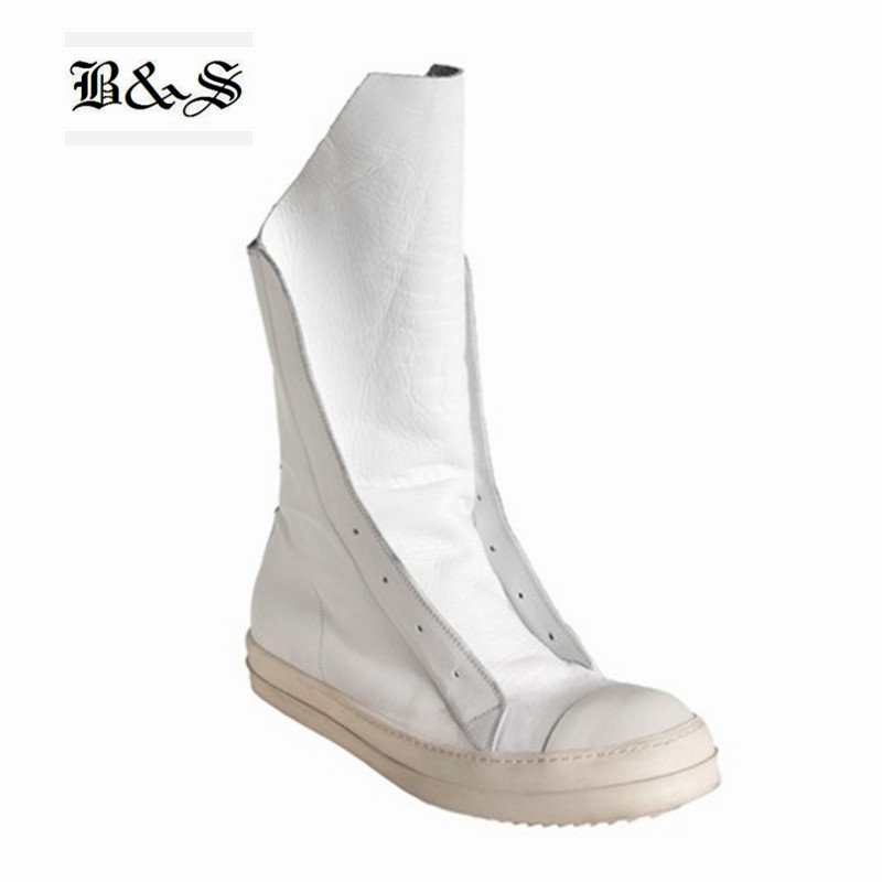 Rock 2018 High-TOP Men Boots Luxury Trainers Genuine Leather Owen Boots Casual Lace-up Zip Flats Black White Personalized Shoes owen seak women shoes high top ankle boots genuine leather luxury trainers sneaker casual lace up zip flat shoes black white big