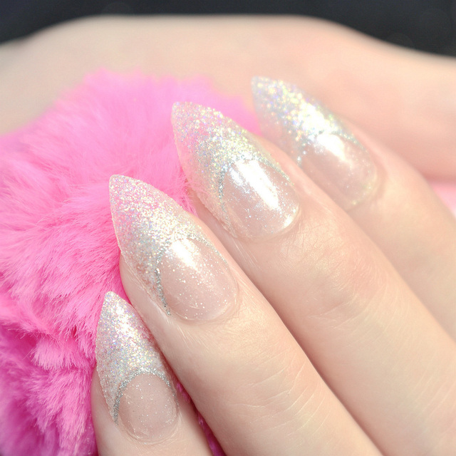 24pcs Shinning Glitter French Stiletto False Nails Tips Clear With Bullion White Colorful Sharp Party