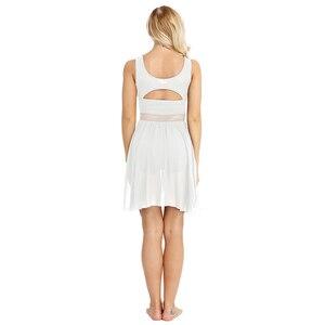 Image 3 - 여성 민소매 비대칭 쉬폰 발레 댄스 레오타드 드레스 성인 서정적 인 현대 무용 연습 의상
