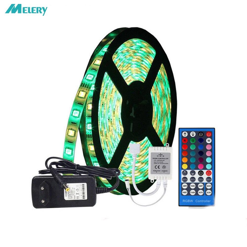Lumière LED bande douce colorée RGBW 12 V/24 V 5050RGB Set époxy étanche cheval couleur changement lumière bande 44Key télécommande contrôleur