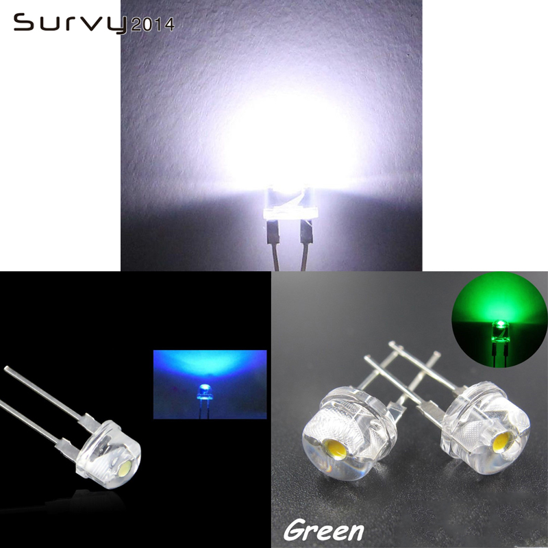 Electronic Components & Supplies 10/50/100pcs F8 Led 8mm Straw Hat Blue/green/white Color Clear Wide Angle Light Lamp Easy And Simple To Handle