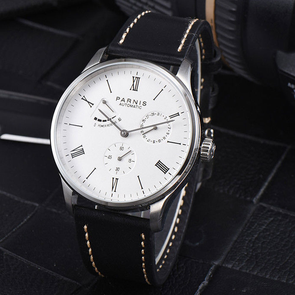 42mm parnis White Dial Roman Numerals Power reserve Complete Calendar SS Case ST1780 Automatic Mechanical men's Wristwatches цены