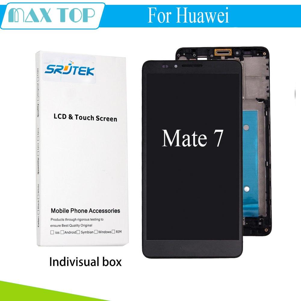 Para huawei mate 7 lcd display + touch screen + frame reemplazo del conjunto par