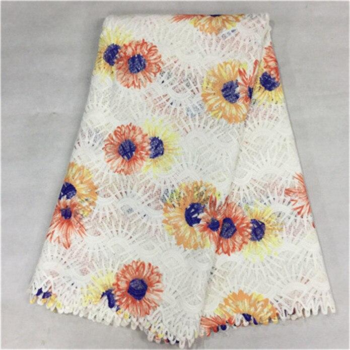 ᗖBuena venta blanco francés guipure encaje con flor colorida tela ...