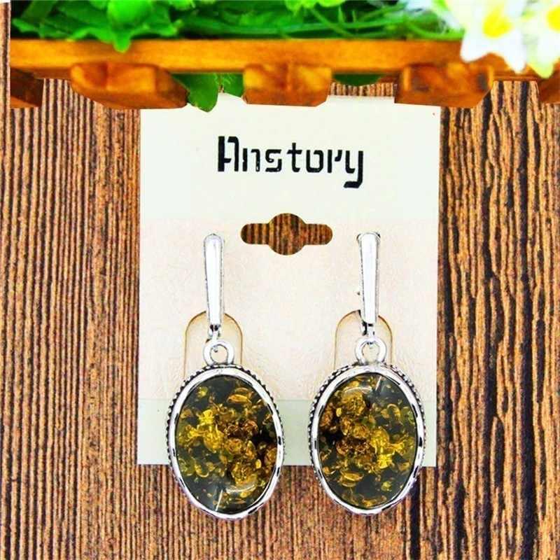 Owalny zielony kwiat symulowane Ambers zestaw biżuterii naszyjnik kolczyk pierścień antyczny posrebrzany wisiorek stal nierdzewna stalowy łańcuch biżuteria