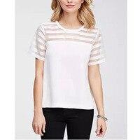 Ładny Pop Vogue Organzy Patchwork Tee Topy Casual T-shirty Damskie Elegancki Biały T Koszula Cały Mecz Krótki Rękaw Tee Ubrania CP82