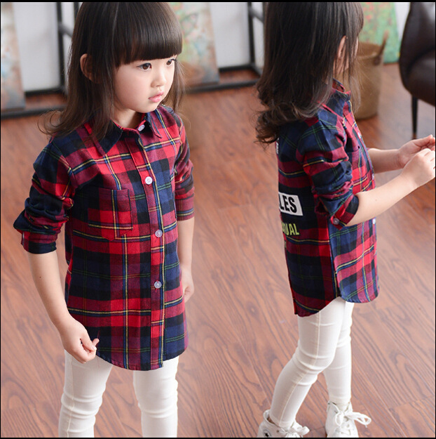 Children's clothes autumn 2016 new Korean grid or boy wine Lattice autumn blouse letters casual long sleeve tee girls shirts
