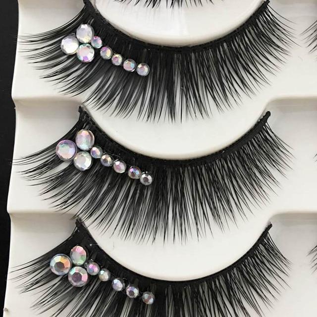 1 Box Shimmery AB Crystal False Eyelashes Stage Performance Latin Fake Eyelashes Exaggerated Stage Makeup Thick Long Eye Lashes 2