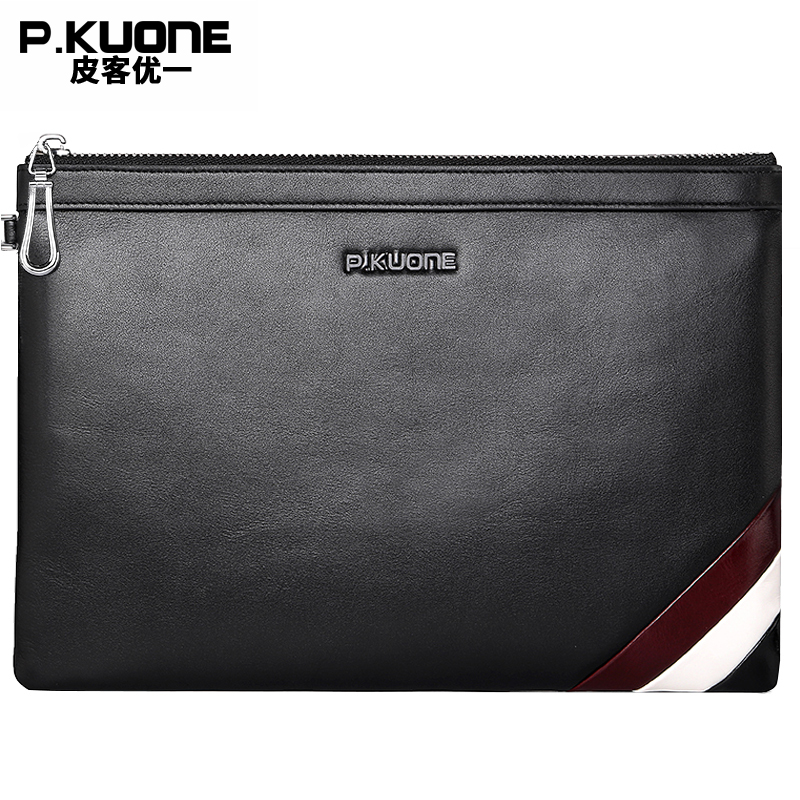 P.KUONE Brand 2017  Black Genuine Leather Men Clutch Bags CowLeather Wallet Male Simple Design Wallet Men's Purses Envelope Bag 2016 famous brand new men business brown black clutch wallets bags male real leather high capacity long wallet purses handy bags
