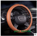 leather  Brown DIY steering car wheel cover  with 36/38cm funda volante unviersal  for vw steering  wheel car styling  car cover