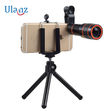 Cheaper Tripod with 12X Zoom Mobile Phone Lens for iPhone 7 6S plus Samsung S7 S6 edge Smartphones Clip Telescope Camera Lens