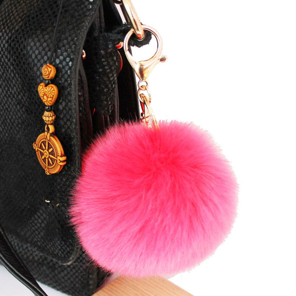 f7ed3a7b62 Furling 1pc First Gold Plating keychain with 9CM  3.5Inch Faux Fur Pom poms  Ball-in Key Chains from Jewelry   Accessories on Aliexpress.com
