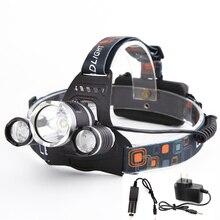 6000Lm CREE XML T6 LED Headlight Headlamp Head Lamp Light 4-mode torch +EU/US Car charger for Fishing Lights
