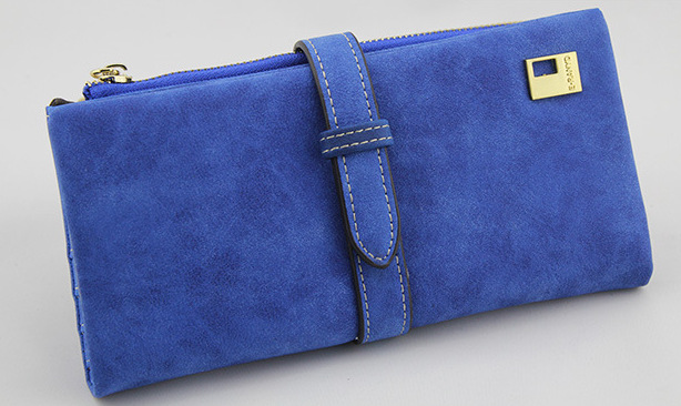 Известный бренд, Длинный кошелек, два сложения, женские кошельки, на завязках, нубук, кожа, на молнии, замшевый кошелек, дамская сумочка, клатч - Цвет: Blue