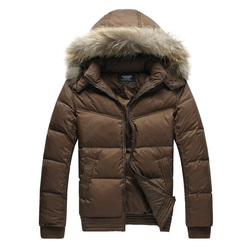 Lesmart mens winter outerwear jacket brief business casual raccoon dog fur detachable hat white duck down.jpg 250x250