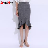 Suede Skirts Womens Ruffle High Waist Midi Skirt Mermaid Gray Bandage Suede Leather Skirt Elegant Elastic