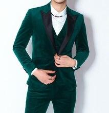 Mens Velvet Green Suits Black Peak Lapel Formal Groom 3 Pieces Separately