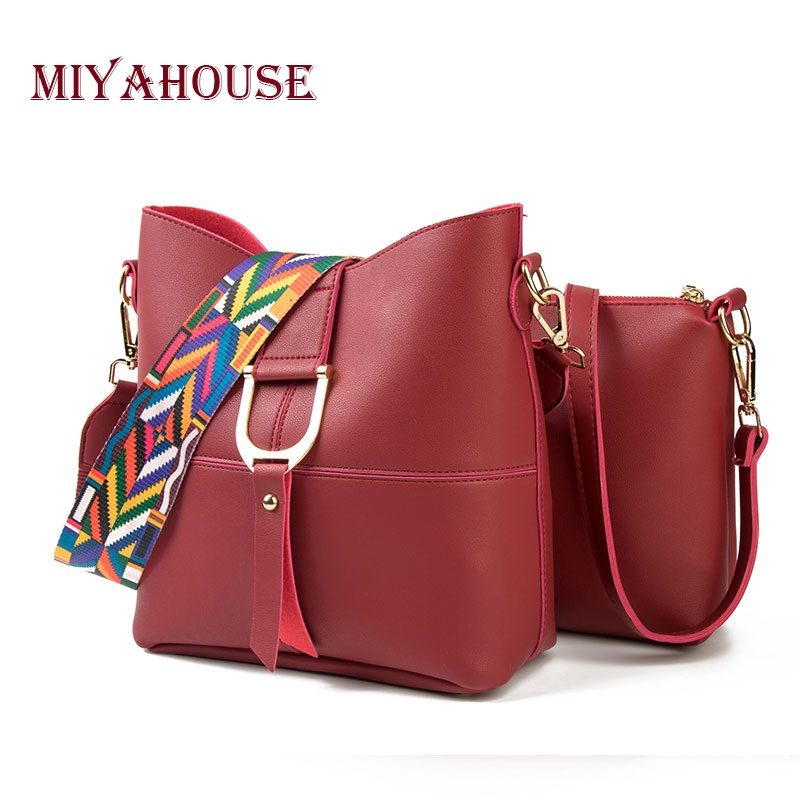 Miyahouse Brand Embroidery Colorful Strap Women Shoulder Bags High Capacity 2 Bags Ladies Leather  Messenger Bag Female Tote Bag 2017 national embroidery bags women leather shoulder bag lady college crossbody bag colorful strap girls messenger bags school