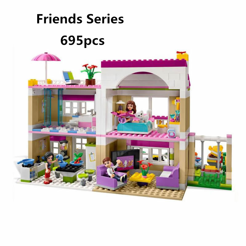 Bela diy Friends Olivia's House Building Blocks Compatiable With Legoingly Bricks Toys For Children Girl Game Castle Gift 3315 50pcs starwars superhero building the roman soldiers blocks bricks friends for girl boy jenga house games children toys