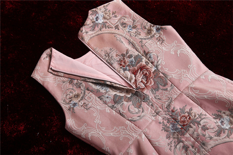 Estampado Lujo Alta De Ete Femme Mangas Truevoker Con Las Sin En Vintage Mujeres Calidad Rosa Bata Cristal Vestidos Relieve Diseñador qA44CxwOv