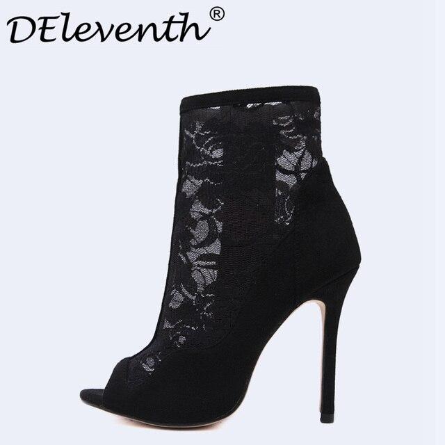 Chaussures à bout ouvert noires Sexy femme Vdu0jq0hk