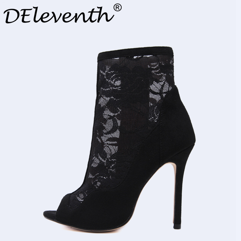 Beauty Sexy Embroidery Cut-outs Women Shoes Zipper Mesh Open Toe Stiletto High Heels Shoes Woman Ankle Boots Zapatos Mujer Black hot stretch knitted peep toe ankle boots sexy women fashion booties cut outs slip on stiletto high heels botas mujer shoes woman